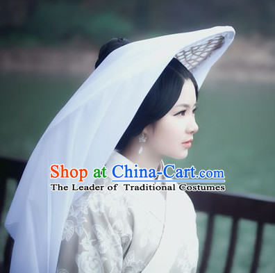 Handmade Chinese Knight Style Bamboo Hat with Veil