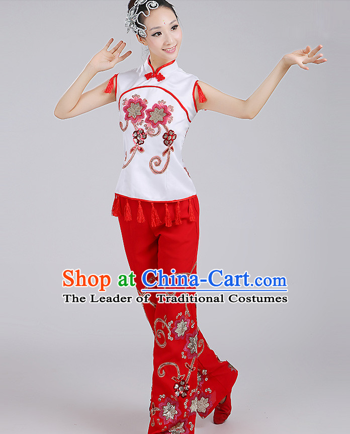Chinese Group Handkerchief Dancewear Dance Clothes and Hair Decorations Complete Set for Women