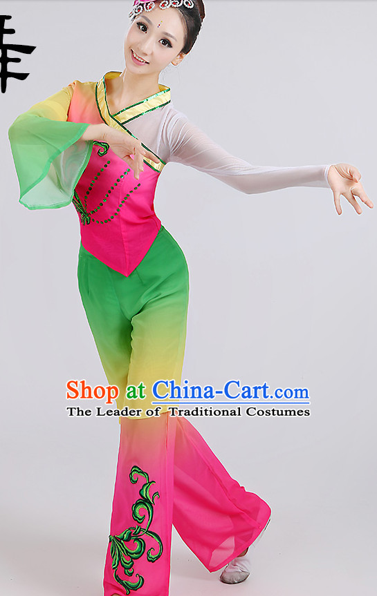 Chinese Wholesale Clothing Fan Dance Costumes Dancewear Dance Clothes and Headpieces Complete Set for Women