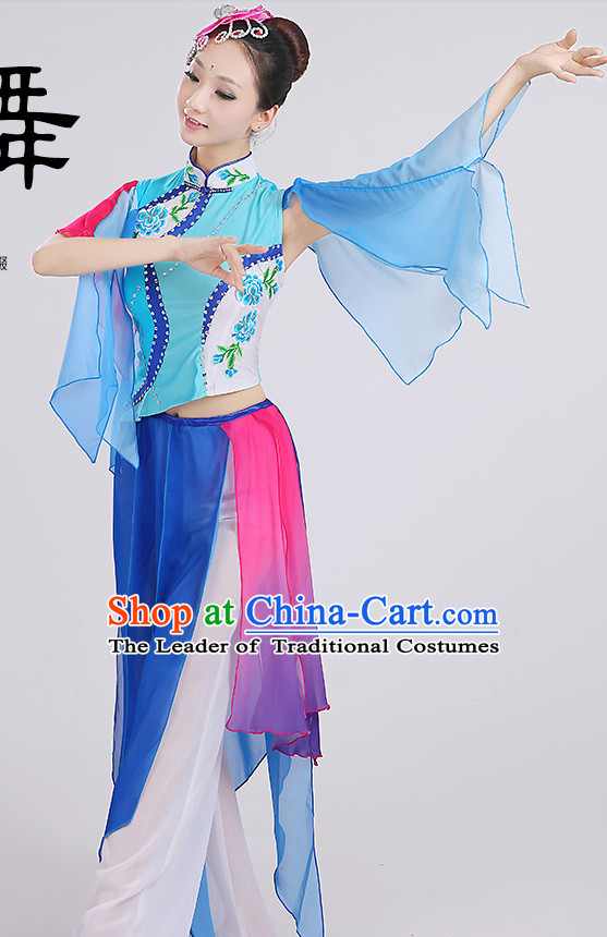 Chinese Group Fan Dancing Costumes Dancewear Dance Clothes and Headpieces Complete Set for Women