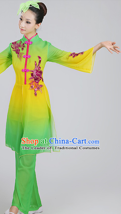 Color Transition Chinese Classicial Dance Costumes and Headpieces Complete Set for Woen