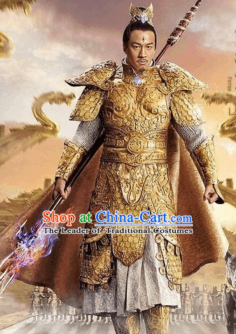 Chinese Er Lang Shen Fairytale Gneral Armor Costumes and Crown Complete Set