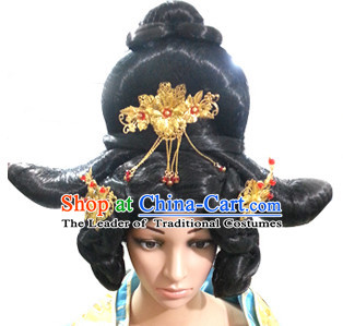 Chinese Ancient Queen Imperia Black Long Lady Hair extensions Wigs Fascinators Toupee Long Wigs Hair Pieces and Accessories