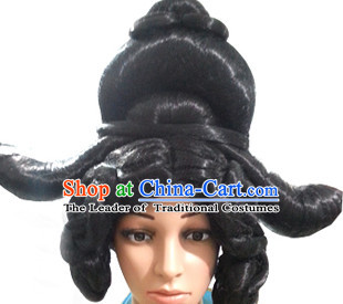 Chinese Ancient Queen Imperia Black Long Lady Hair extensions Wigs Fascinators Toupee Long Wigs Hair Pieces