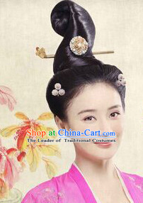 Chinese Ancient Beauty Black Wigs Tang Dynasty Lady Hair extensions Wigs Fascinators Toupee Long Wigs Hair Pieces Halloween Wigs