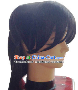 Chinese Ancient Male Halloween Black Long Wig