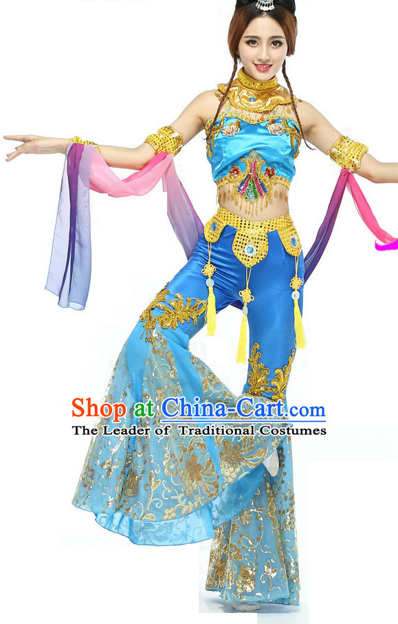 Chinese Classical Quality Dance Costumes and Headdress Complete Set for Women