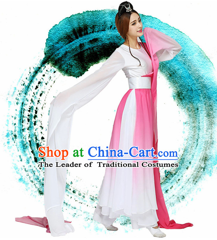 Water Sleeves Chinese Quality Dance Costumes and Headdress Complete Set for Women