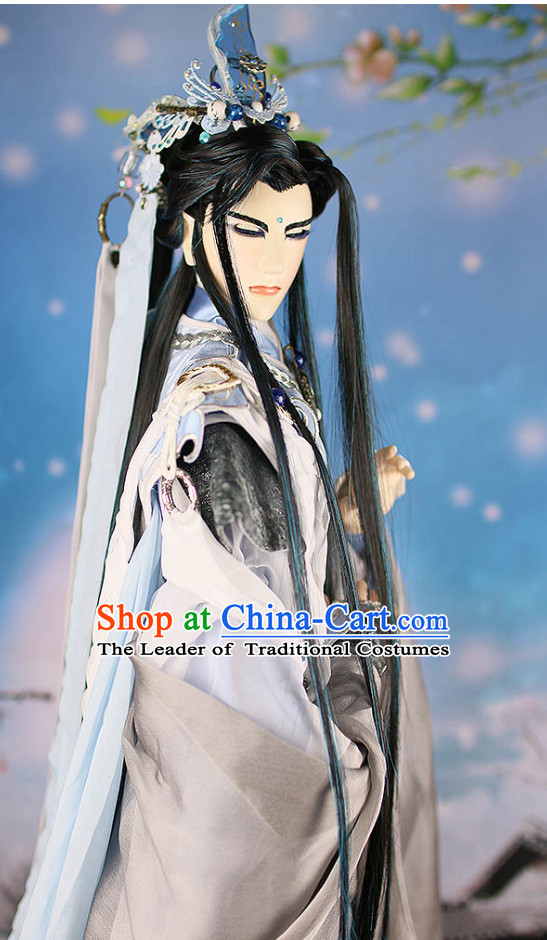 Chinese Ancient King Hairstyles Hair Extensions Wigs Hair Lace Front Wigs Pieces Hair Accessories Set