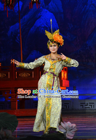 Tang Dynasty Palace Dancer Costume and Headwear Complete Set.