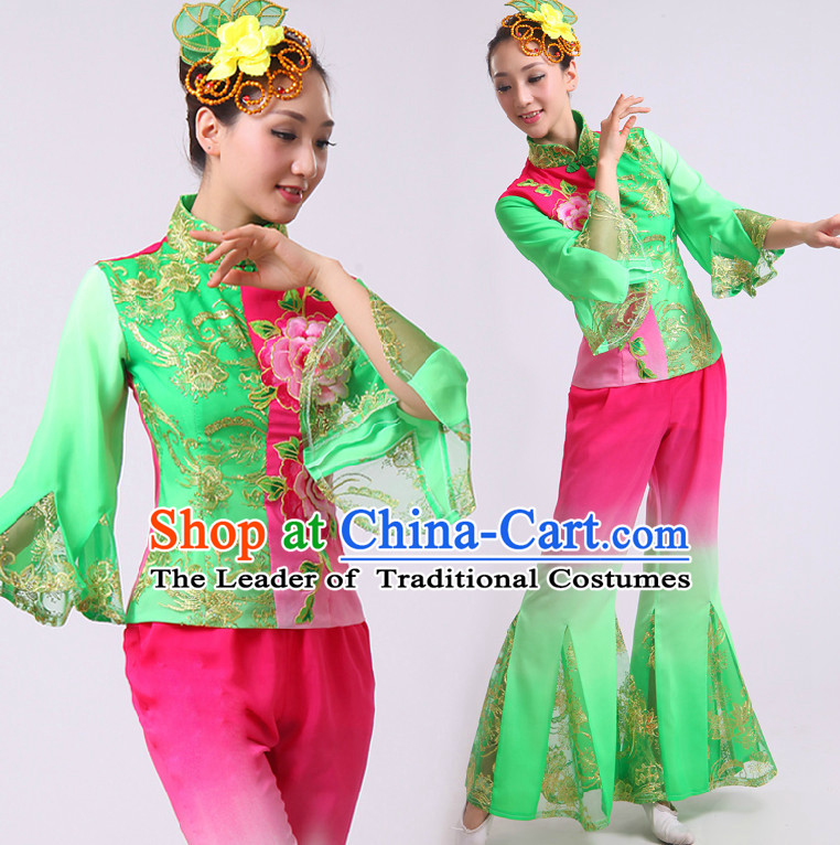 Chinese Fan Dance Costumes Ribbon Dancing Costume Dancewear China Dress Dance Wear and Headwear Complete Set
