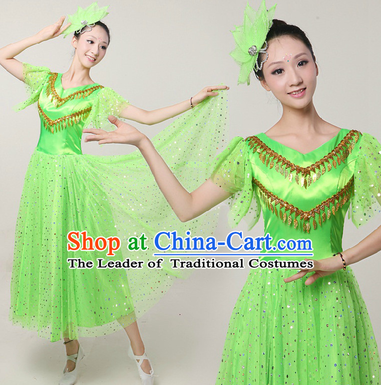 Asian Dance Costumes Ribbon Dancing Costume Dancewear China Dress Dance Wear and Hair Accessories Complete Set