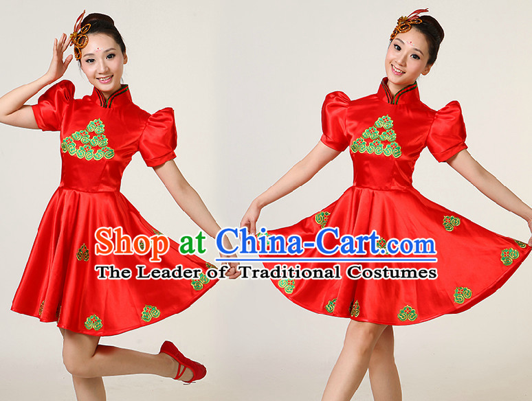 Asian Dance Costumes Competition Costumes Dancewear China Dress Dance Wear and Headpieces Complete Set