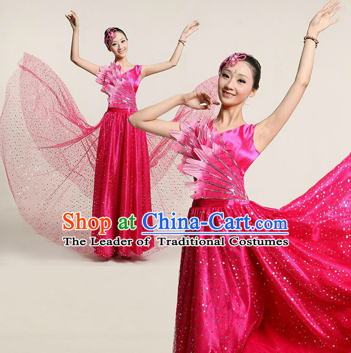 Chinese Dance Costume Competition Costumes Dancewear China Dress Dance Wear and Headpieces Complete Set