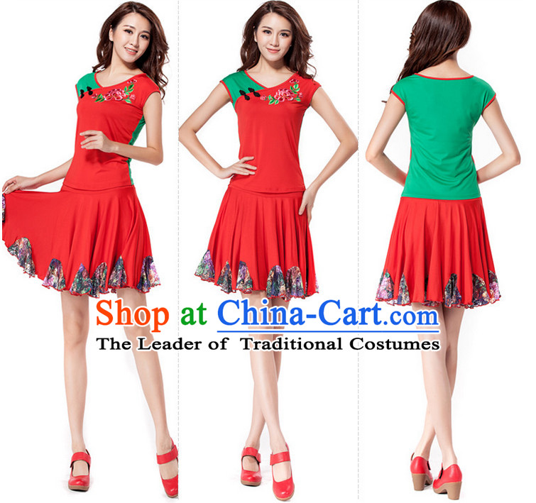 Red Chinese Style Parade Dance Costume Ideas Dancewear Supply Dance Wear Dance Clothes Suit