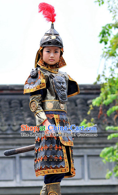 Chinese Emperor Armor Halloween Costumes for Kids Baby Hanfu Clothes Toddler Halloween Costume Kids Clothing and Hair Accessories Complete Set for Kids
