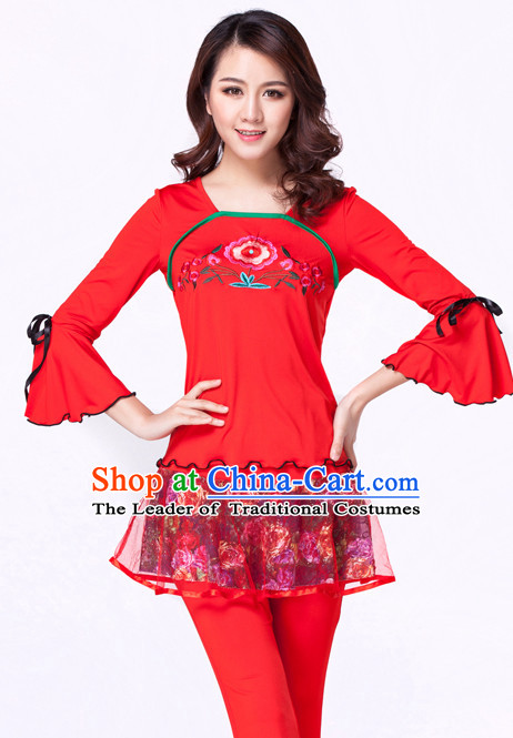 Red Chinese Style Parade Modern Costume Ideas Dancewear Supply Dance Wear Dance Clothes Suit