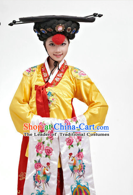Chinese Classic Stage Korean Dance Costumes and Wigs Complete Set for Women