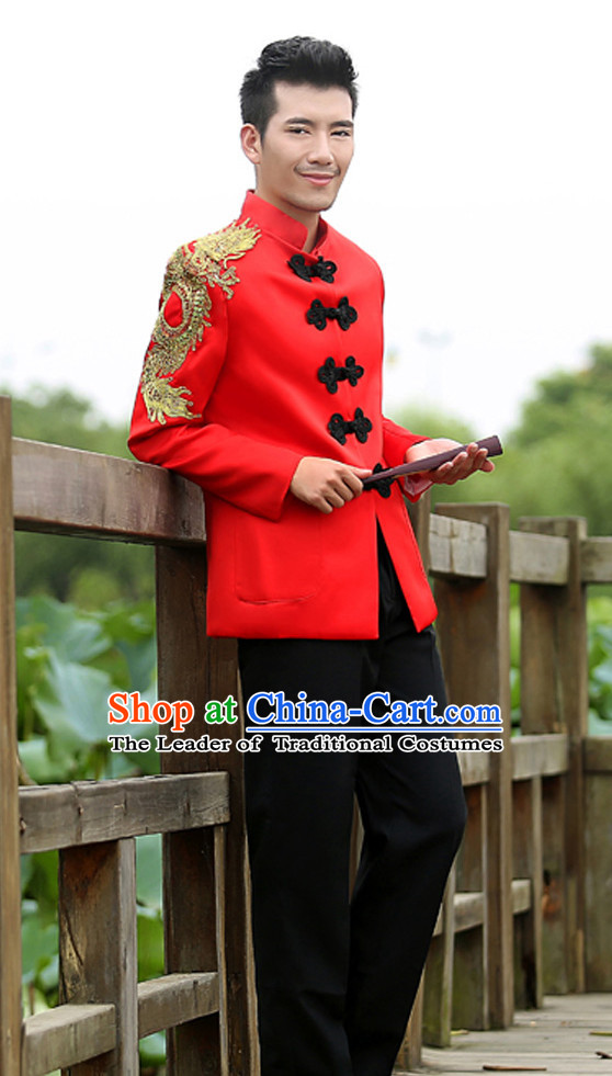 Top Chinese Mandarin Bridegroom Dragon Wedding Clothes Complete Set