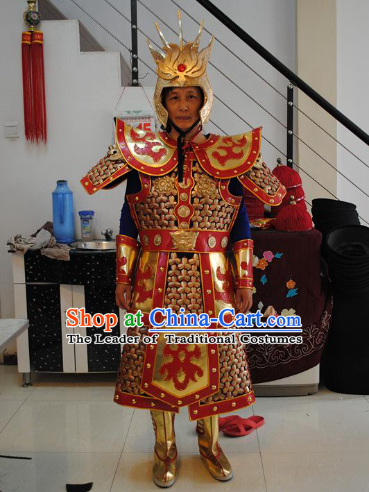 Ancient Asian Superhero Monkey King Armor Costume and Helmet