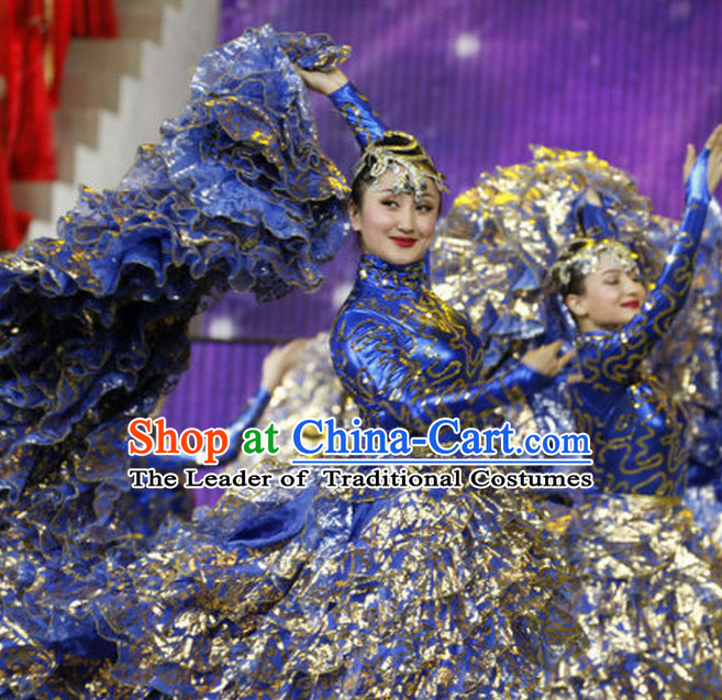Chinese Lunar New Year Party Dance Costume and Head Pieces Complete Set for Women