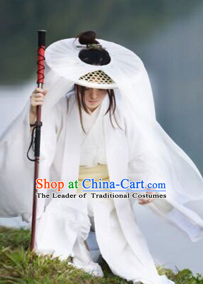 Ancient Chinese Swordsmen Costume and Bamboo Hat Complete Set for Men