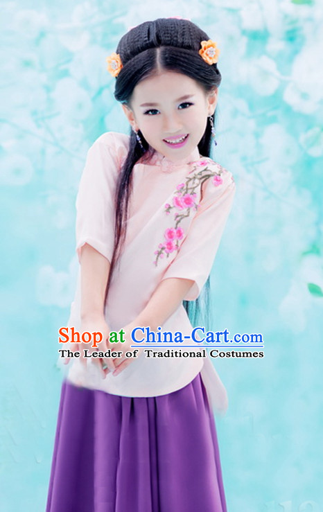 Traditional Chinese Minguo Clothing and Hair Jewelry Complete Set for Girls