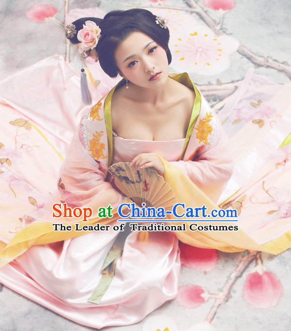 Pink Chinese Classic  Empress Costume and Hair Jewelry Complete Set for Women
