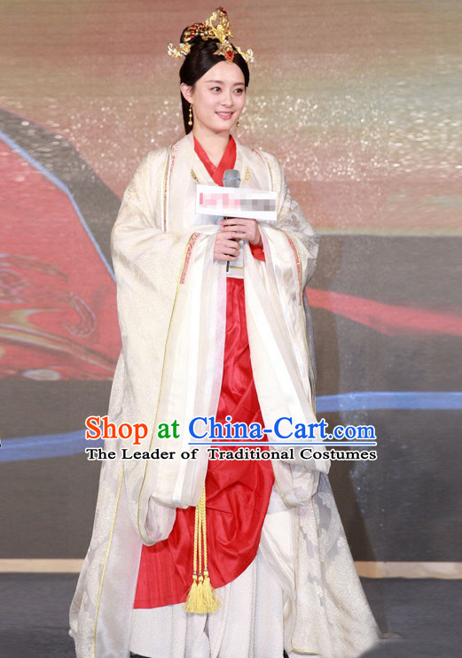 Ancient Chinese Qin Dynasty Empress Clothing Garment and Hair Jewelry Complete Set for Women