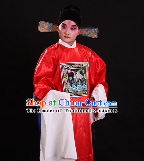 Ancient Chinese Opera Official Costume and Hat Complete Set for Men