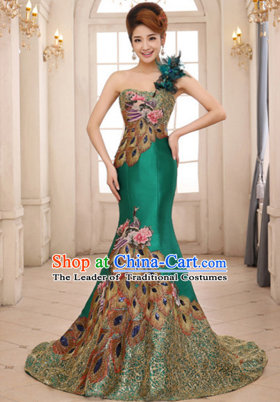 Top Chinese Green Long Tail Wedding Dress Evening Dress and Hair Jewelry Complete Set