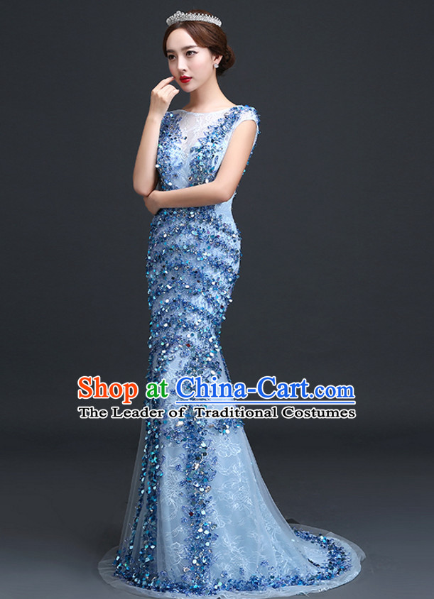 Top Chinese Blue Long Tail Wedding Dress Evening Dress and Hair Jewelry Complete Set