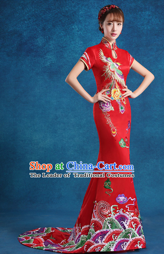 Top Chinese Red Embroidered  Long Tail Wedding Dress Evening Dress and Hair Jewelry Complete Set