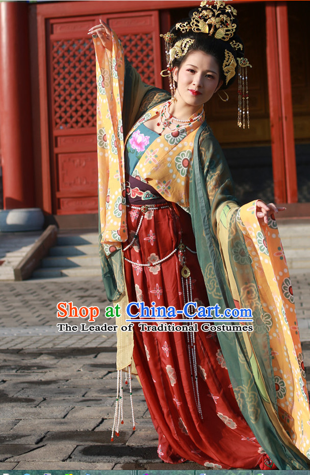Top Chinese Tang Dynasty Brides Wedding Dress and Hair Jewelry Complete Set for Women
