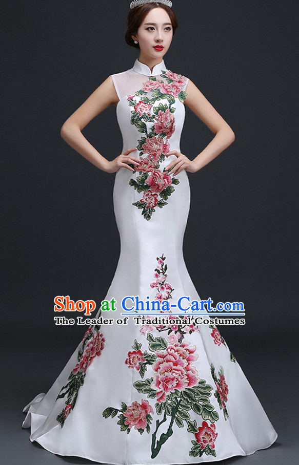 Top Chinese White Long Tail Wedding Dress Evening Dress and Hair Jewelry Complete Set