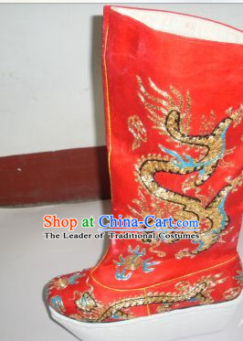 Ancient Chinese Handmade Red Emperor Dragon Embroidery Boots Shoes