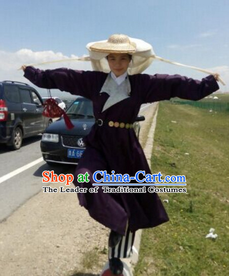 Ancient Chinese Swordswoman Costume and Hat Complete Set for Women or Girls