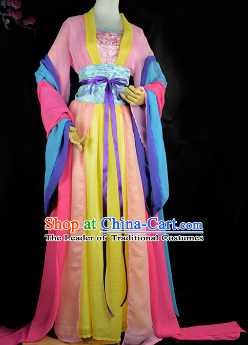 Traditional Chinese Classical Hanfu Clothes Complete Set with Long Tail