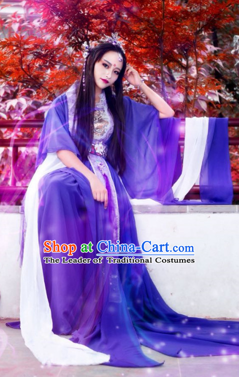 Purple Traditional Chinese Classical Hanfu Dresses and Hair Jewelry Complete Set for Women
