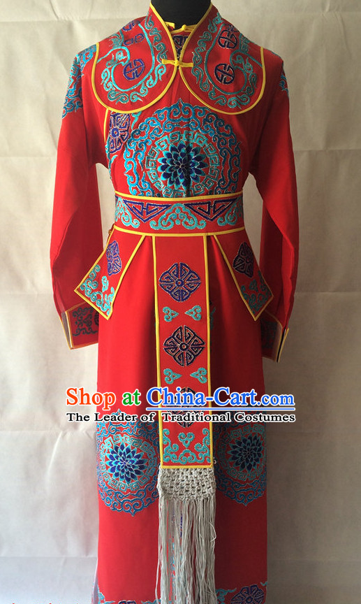 Ancient Chinese Opera Embroidered General Costumes Complete Set for Men