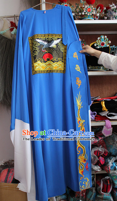 Blue Ancient Chinese Official Costumes Complete Set for Men