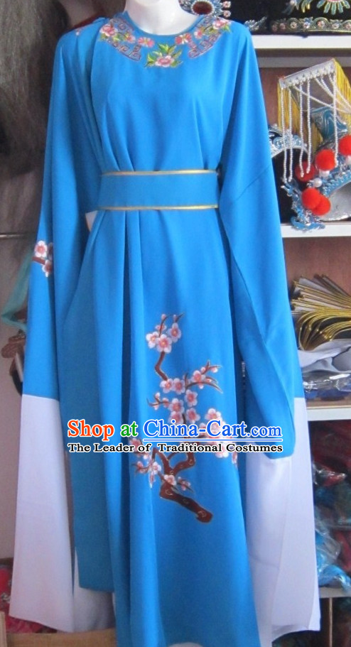 Blue Ancient Chinese Scholar Costumes Complete Set for Men