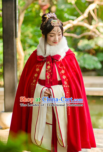Chinese Ancient Hanfu Dress Crane Embroidery and Cape and Headpieces Complete Set for Women