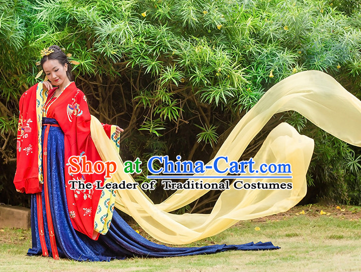 Chinese Traditional Wedding Clothing Hanfu Costume Han Fu Clothing for Sale and Hair Jewelry Complete Set