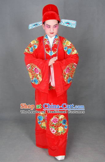 Ancient Chinese Opera Scholar Wedding Costumes and Hat Complete Set for Men