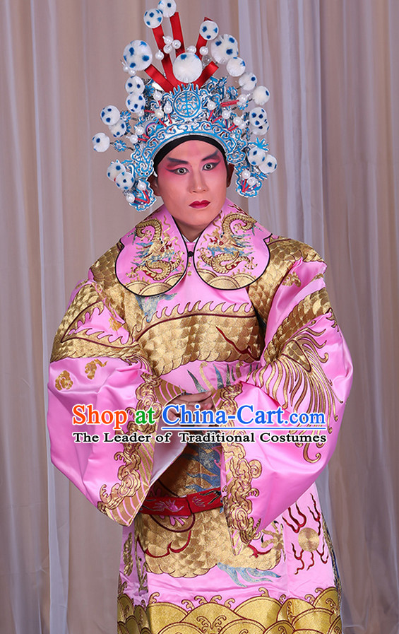 Embroidered Chinese Classic Peking Opera Long Mang Dragon Robe Costume Beijing Opera Costumes Complete Set for Adults Kids Men Boys