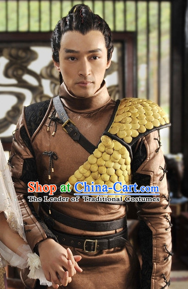 Ancient Chinese Cosplay Hero Armor Costumes Swordsman Hanfu Dresses Complete Set for Men and Teenagers