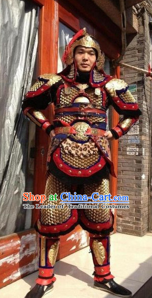 Chinese Ancient General Body Armor Costumes and Helmet Complete Set for Men