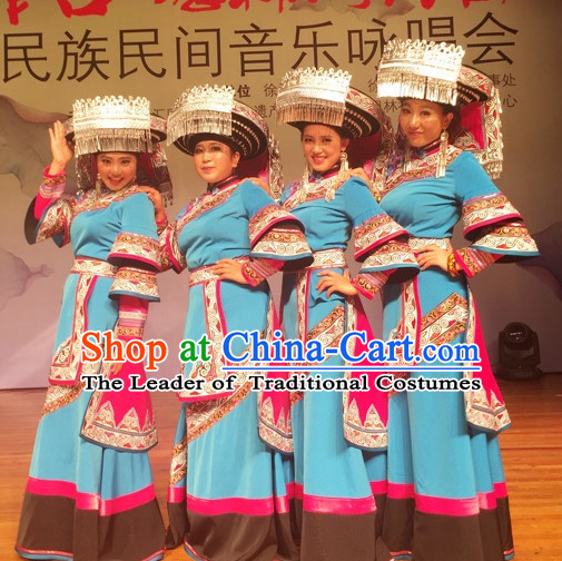 Chinese Folk Ethnic Traditional Clothes and Hat Complete Set for Women