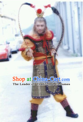 Chinese Ancient Monkey King General Armor Costumes and Feather Hat Complete Set for Men